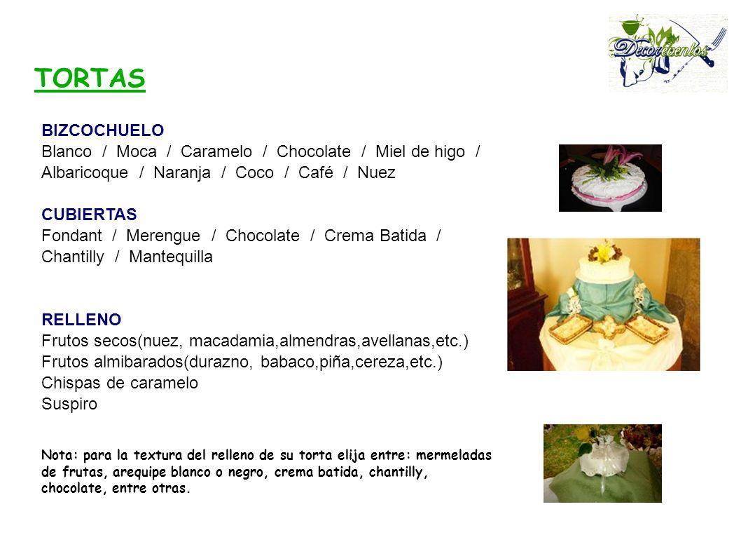 BIZCOCHUELO Blanco / Moca / Caramelo / Chocolate / Miel de higo / Albaricoque / Naranja / Coco / Café / Nuez CUBIERTAS Fondant / Merengue / Chocolate