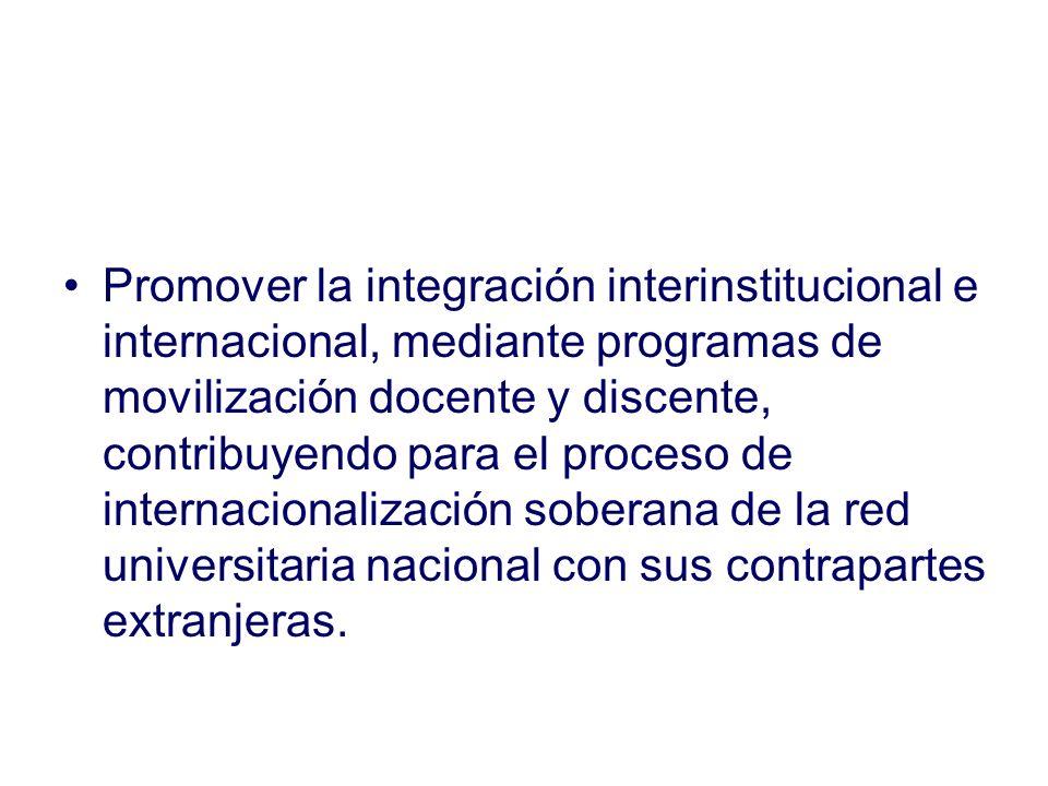 Promover la integración interinstitucional e internacional, mediante programas de movilización docente y discente, contribuyendo para el proceso de internacionalización soberana de la red universitaria nacional con sus contrapartes extranjeras.