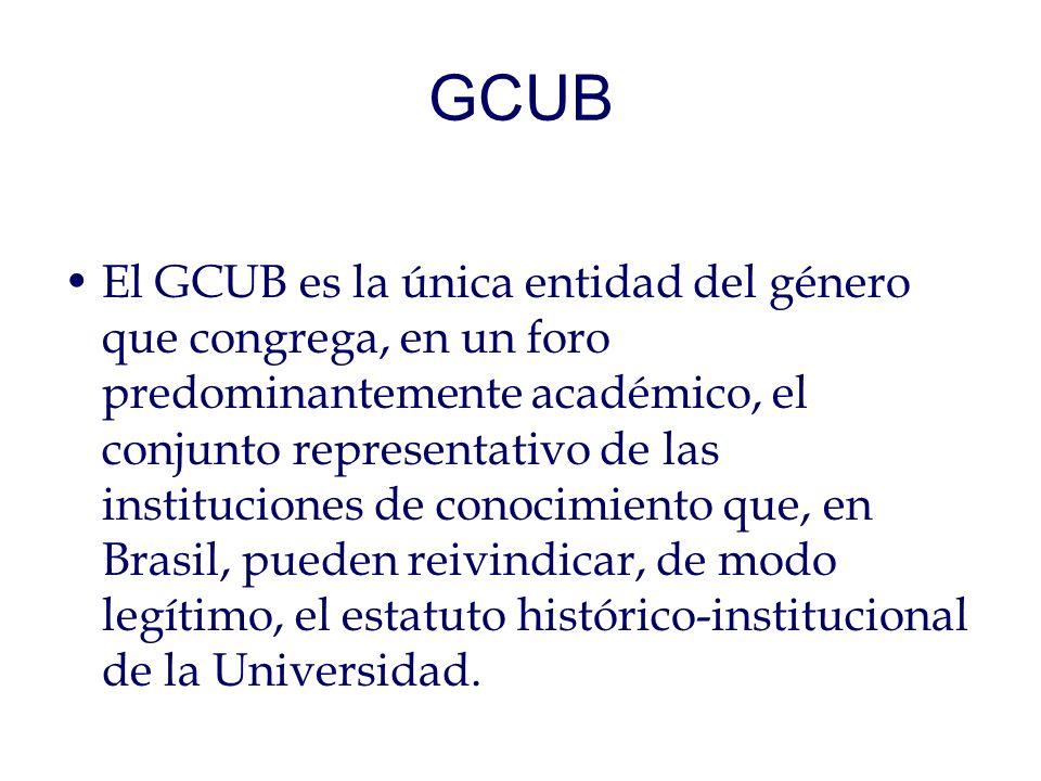 GCUB El GCUB es la única entidad del género que congrega, en un foro predominantemente académico, el conjunto representativo de las instituciones de conocimiento que, en Brasil, pueden reivindicar, de modo legítimo, el estatuto histórico-institucional de la Universidad.
