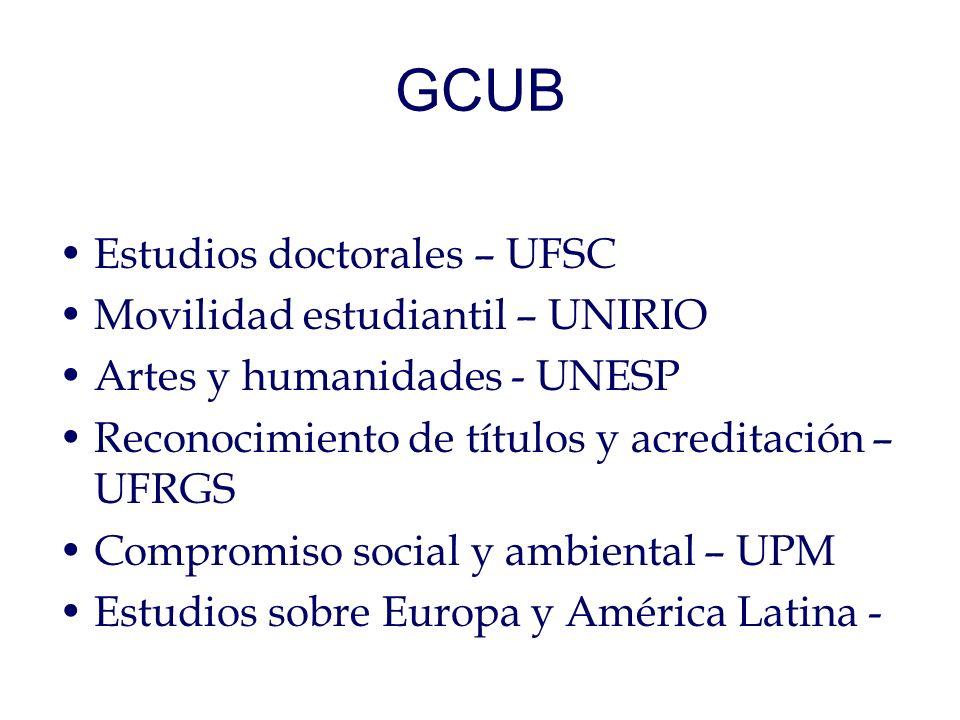 GCUB Estudios doctorales – UFSC Movilidad estudiantil – UNIRIO Artes y humanidades - UNESP Reconocimiento de títulos y acreditación – UFRGS Compromiso social y ambiental – UPM Estudios sobre Europa y América Latina -