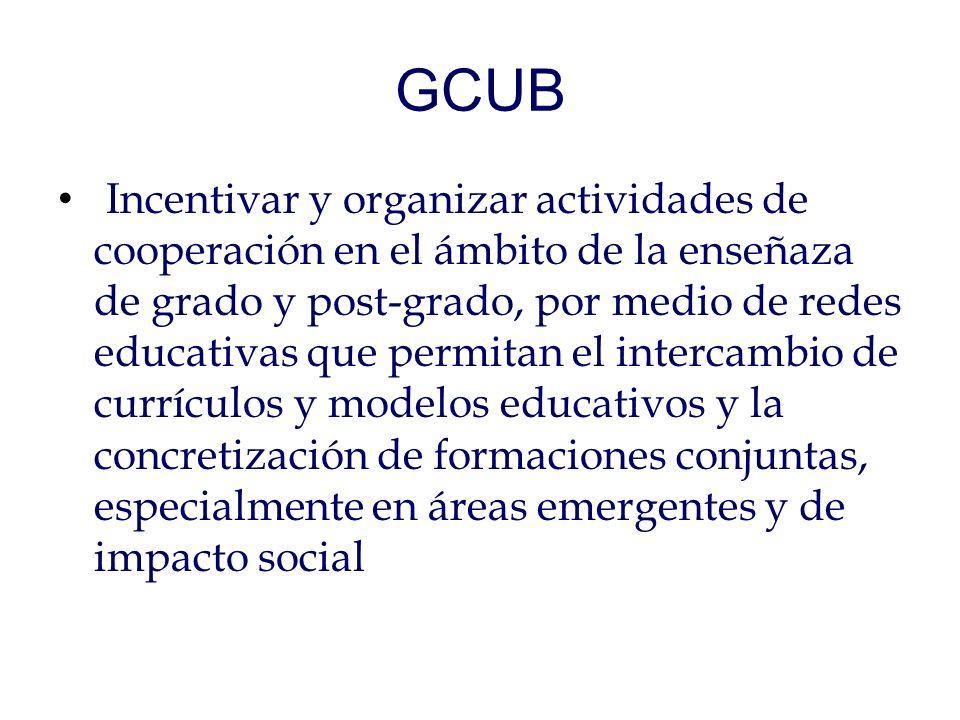 GCUB Incentivar y organizar actividades de cooperación en el ámbito de la enseñaza de grado y post-grado, por medio de redes educativas que permitan el intercambio de currículos y modelos educativos y la concretización de formaciones conjuntas, especialmente en áreas emergentes y de impacto social