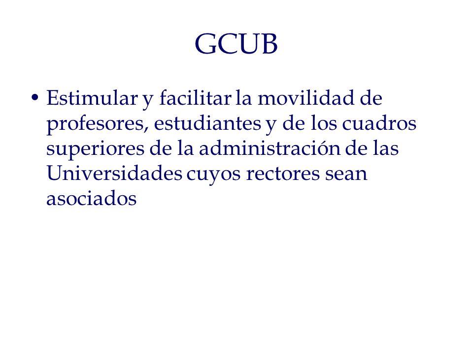 GCUB Estimular y facilitar la movilidad de profesores, estudiantes y de los cuadros superiores de la administración de las Universidades cuyos rectores sean asociados