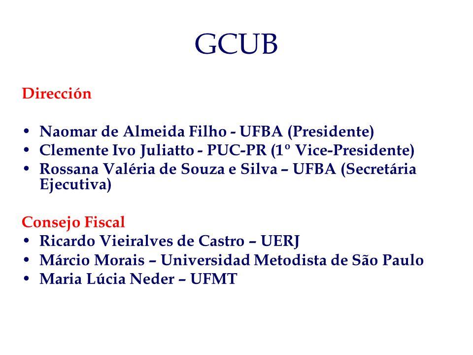 GCUB Dirección Naomar de Almeida Filho - UFBA (Presidente) Clemente Ivo Juliatto - PUC-PR (1º Vice-Presidente) Rossana Valéria de Souza e Silva – UFBA