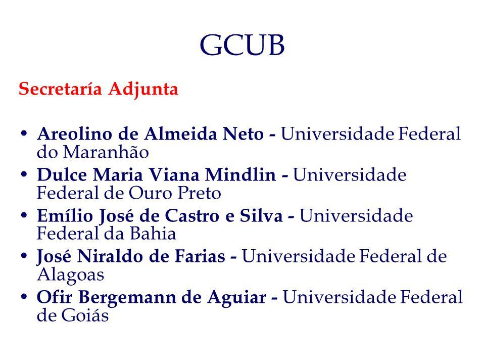 GCUB Secretaría Adjunta Areolino de Almeida Neto - Universidade Federal do Maranhão Dulce Maria Viana Mindlin - Universidade Federal de Ouro Preto Emí