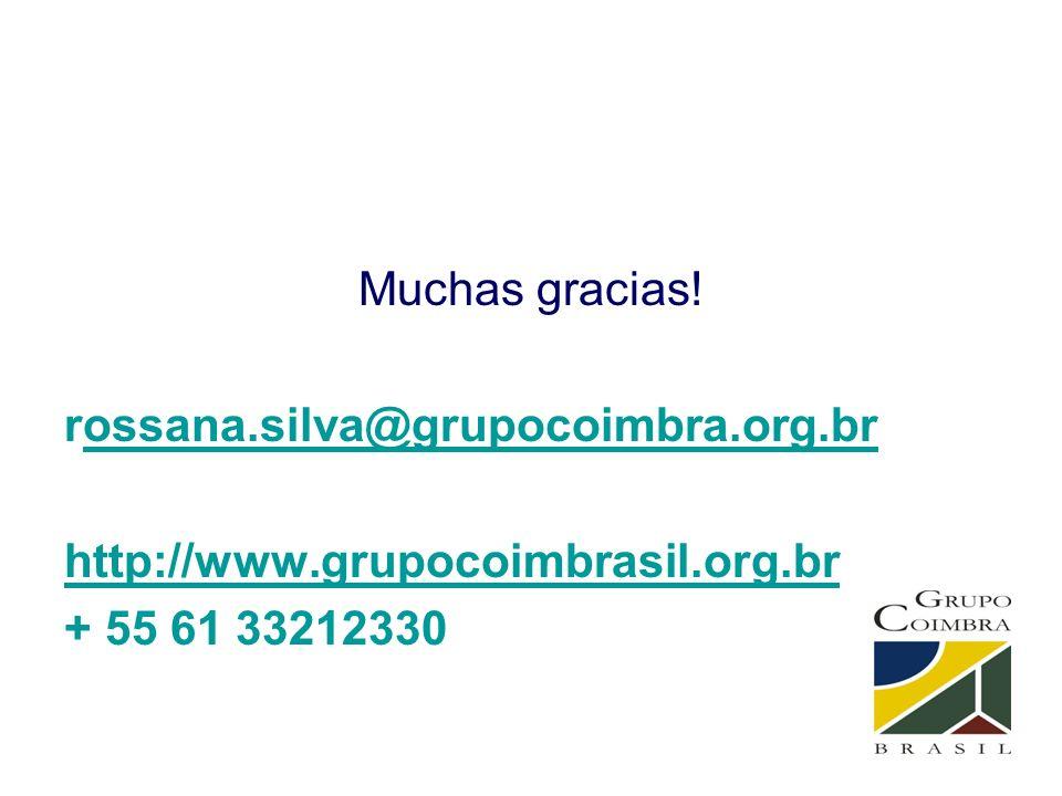 Muchas gracias! rossana.silva@grupocoimbra.org.brossana.silva@grupocoimbra.org.br http://www.grupocoimbrasil.org.br + 55 61 33212330