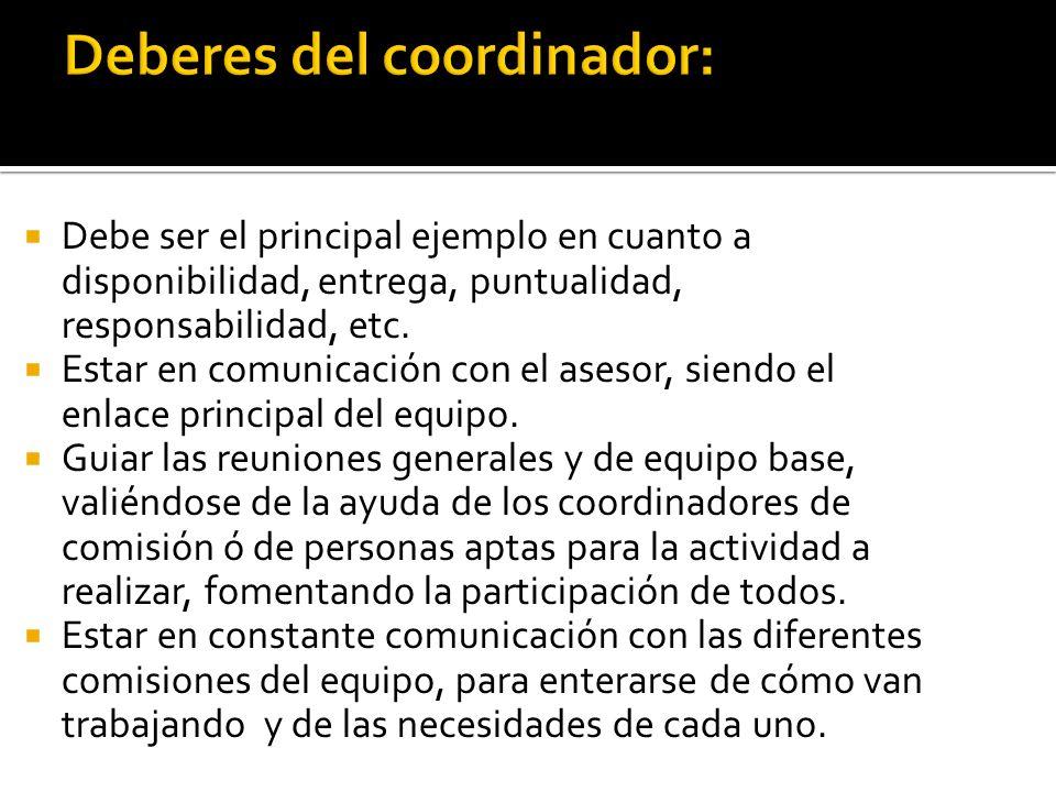 6.- El coordinador de cocina deberá estar en contacto con sus integrantes y hacer que trabajen de manera responsable, sabiendo que es una de las comisiones que se ocupa estar completamente concentrados en su trabajo.