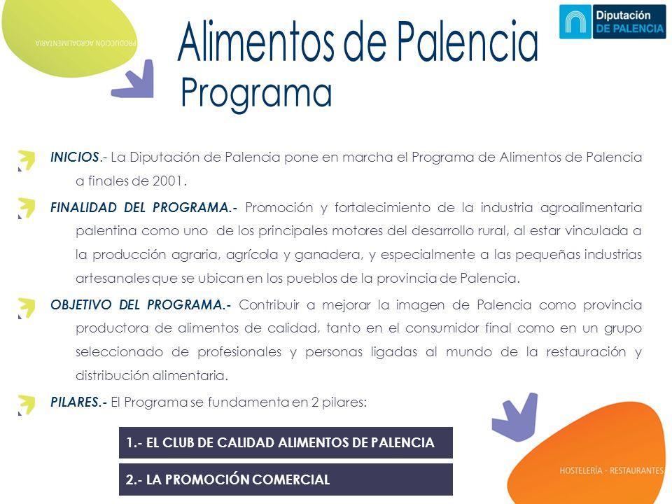 1.- EL CLUB DE CALIDAD ALIMENTOS DE PALENCIA INICIOS.- La Diputación de Palencia pone en marcha el Programa de Alimentos de Palencia a finales de 2001.