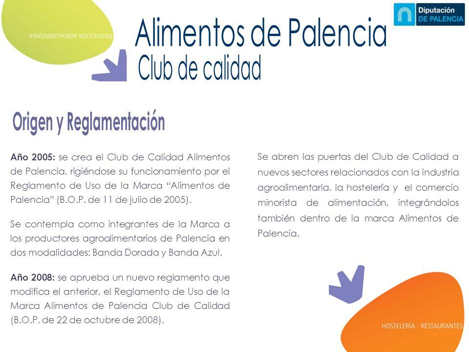Año 2005: se crea el Club de Calidad Alimentos de Palencia, rigiéndose su funcionamiento por el Reglamento de Uso de la Marca Alimentos de Palencia (B.O.P.