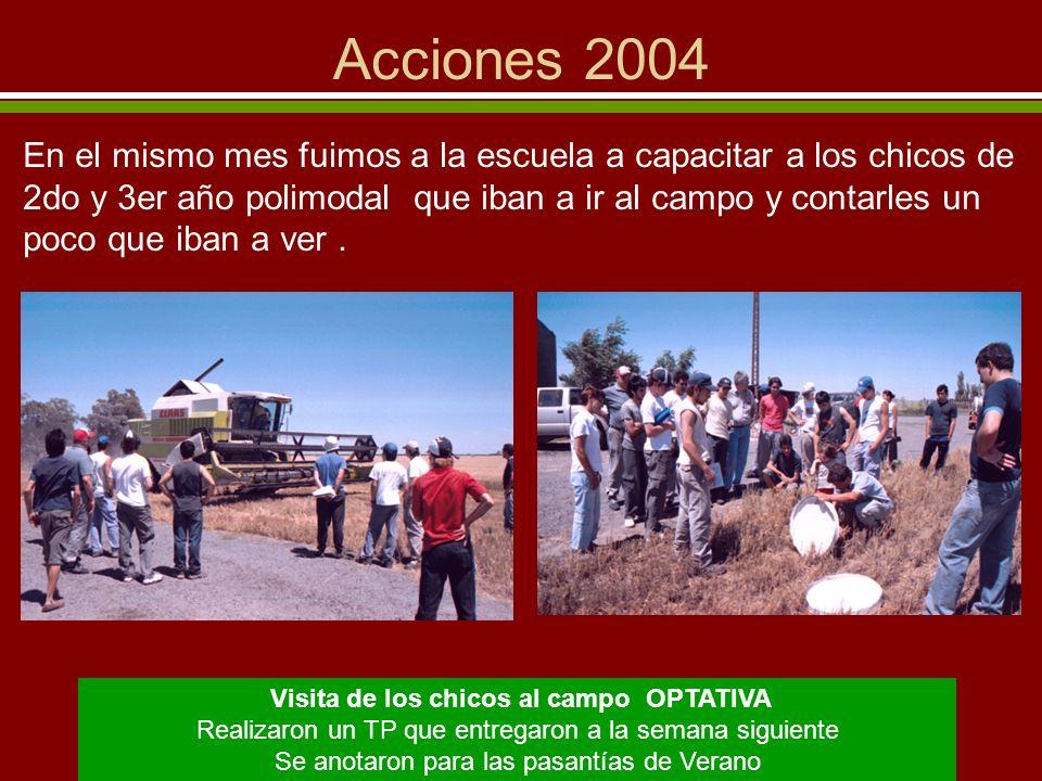 Acciones 2004 Enero y Febrero del 2005: - PASANTIAS a campo - 1 alumno Invernada y Cría en Los Cardos - 3 alumnos Agricultura en Los Cardos - 2 alumnos Tambo en Esperanza 6 chicos HICIERON PASANTIAS