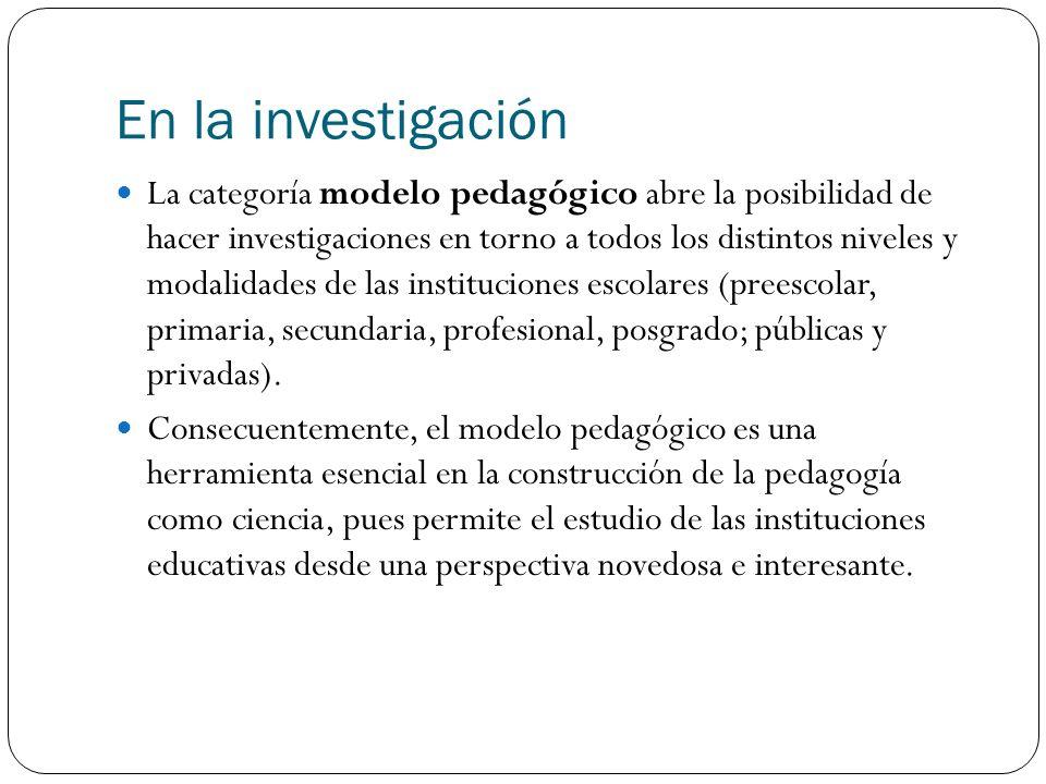 En la investigación La categoría modelo pedagógico abre la posibilidad de hacer investigaciones en torno a todos los distintos niveles y modalidades d