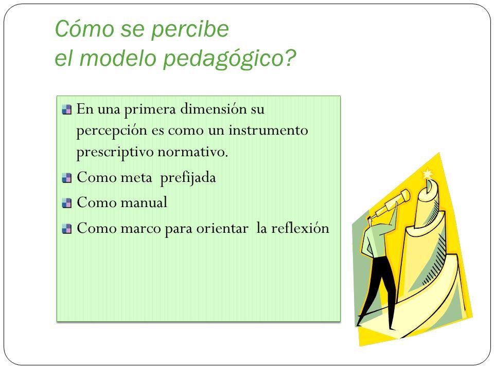 Cómo se percibe el modelo pedagógico? En una primera dimensión su percepción es como un instrumento prescriptivo normativo. Como meta prefijada Como m