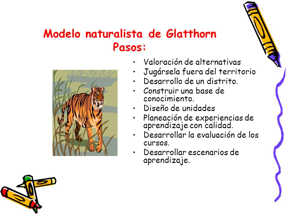 Modelo naturalista de Glatthorn Pasos: Valoración de alternativas Jugársela fuera del territorio Desarrollo de un distrito. Construir una base de cono