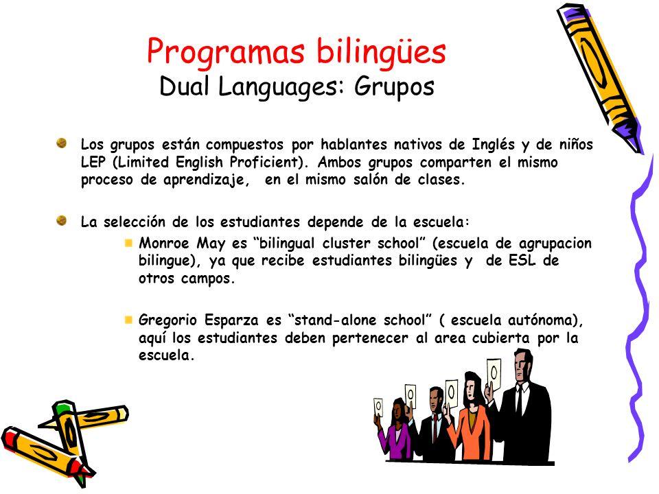 Programas bilingües Dual Languages: Grupos Los grupos están compuestos por hablantes nativos de Inglés y de niños LEP (Limited English Proficient). Am