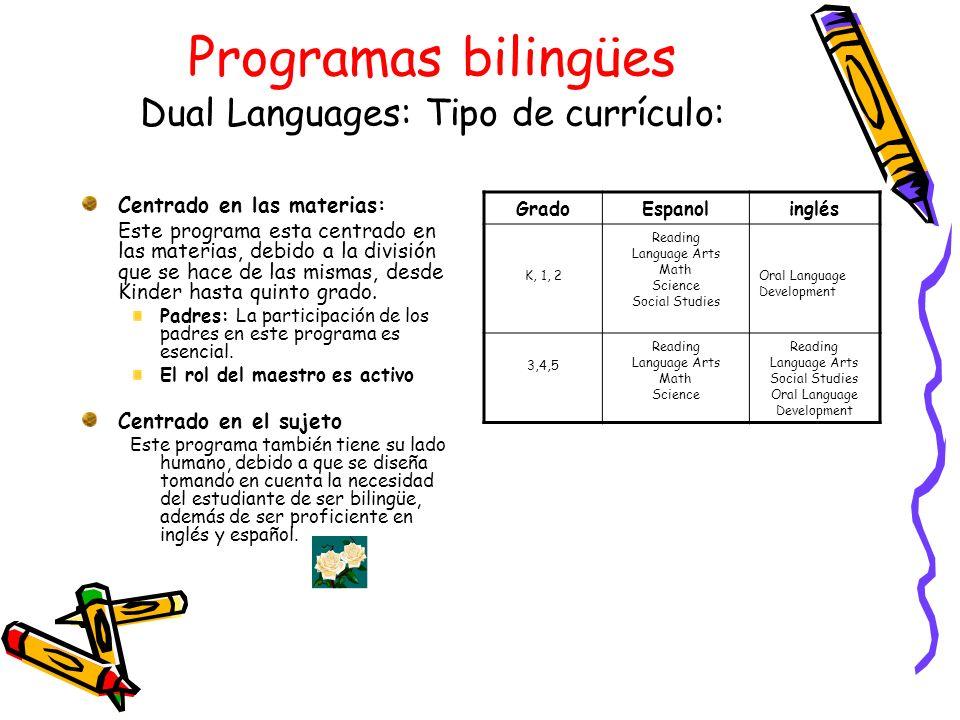 Programas bilingües Dual Languages: Tipo de currículo: Centrado en las materias: Este programa esta centrado en las materias, debido a la división que