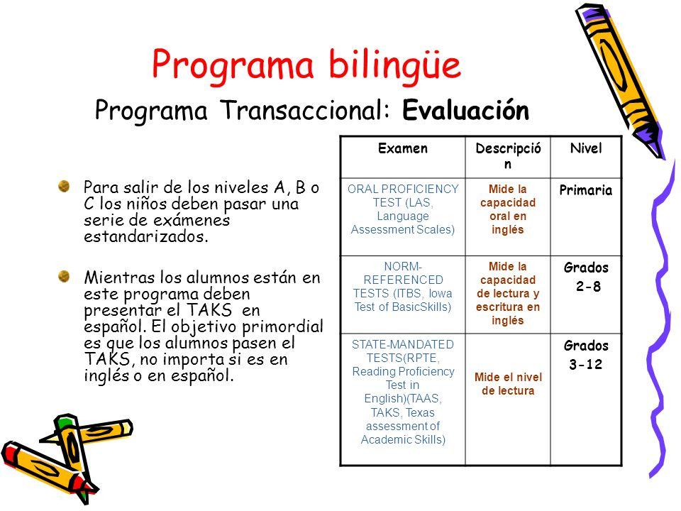 Programa bilingüe Programa Transaccional: Evaluación Para salir de los niveles A, B o C los niños deben pasar una serie de exámenes estandarizados. Mi