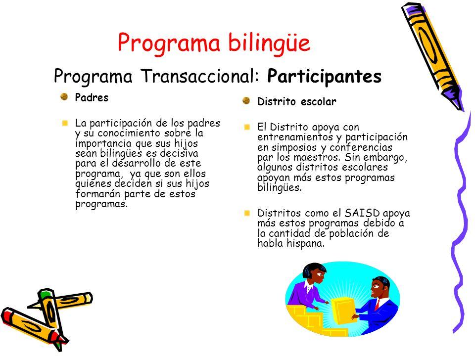 Programa bilingüe Programa Transaccional: Participantes Padres La participación de los padres y su conocimiento sobre la importancia que sus hijos sea