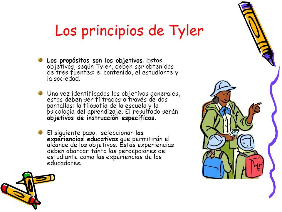 Los principios de Tyler Los propósitos son los objetivos. Estos objetivos, según Tyler, deben ser obtenidos de tres fuentes: el contenido, el estudian
