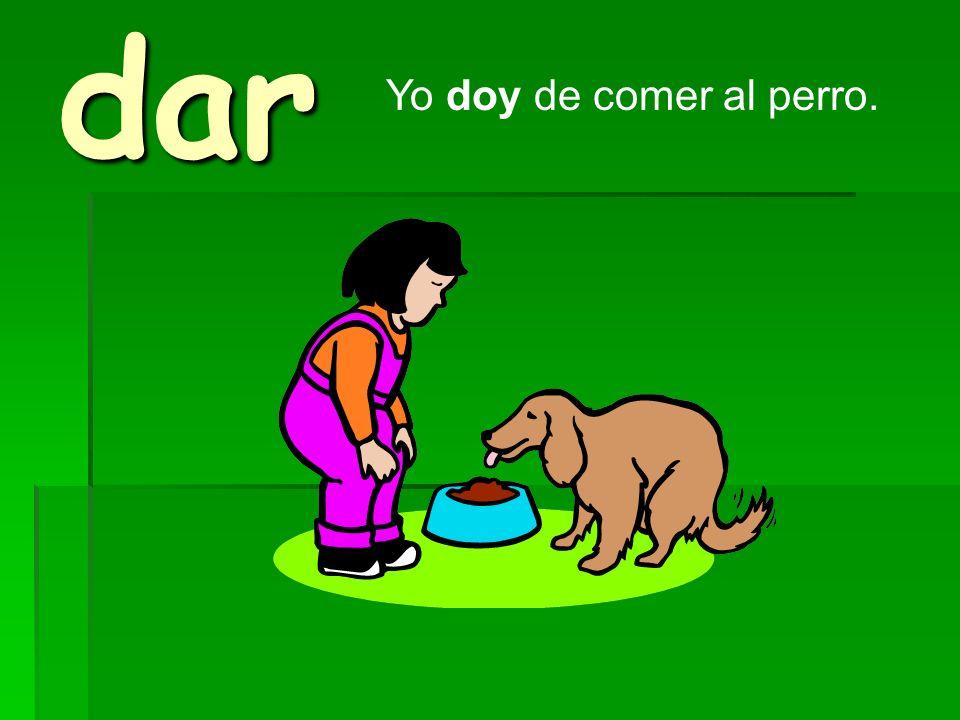 dar Yo doy de comer al perro.
