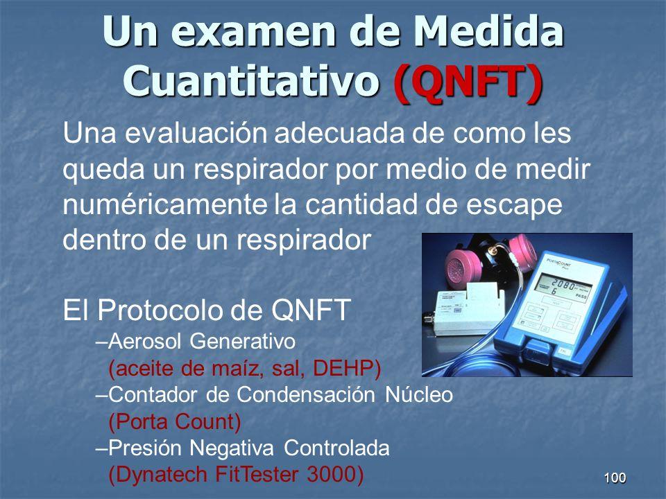 100 Un examen de Medida Cuantitativo (QNFT) Una evaluación adecuada de como les queda un respirador por medio de medir numéricamente la cantidad de es