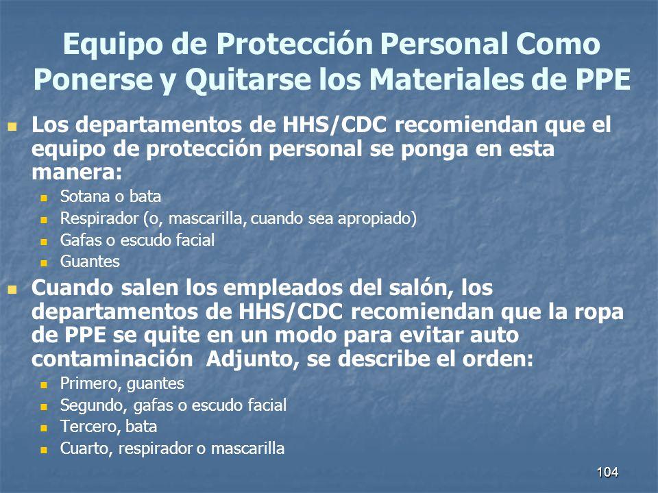 104 Los departamentos de HHS/CDC recomiendan que el equipo de protección personal se ponga en esta manera: Sotana o bata Respirador (o, mascarilla, cu