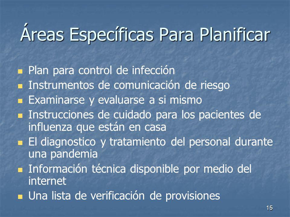 15 Áreas Específicas Para Planificar Plan para control de infección Instrumentos de comunicación de riesgo Examinarse y evaluarse a si mismo Instrucci