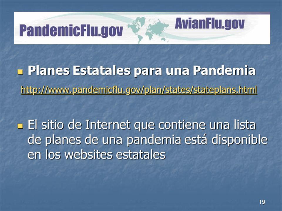 19 PandemicFlu.gov Planes Estatales para una Pandemia Planes Estatales para una Pandemia http://www.pandemicflu.gov/plan/states/stateplans.html http:/
