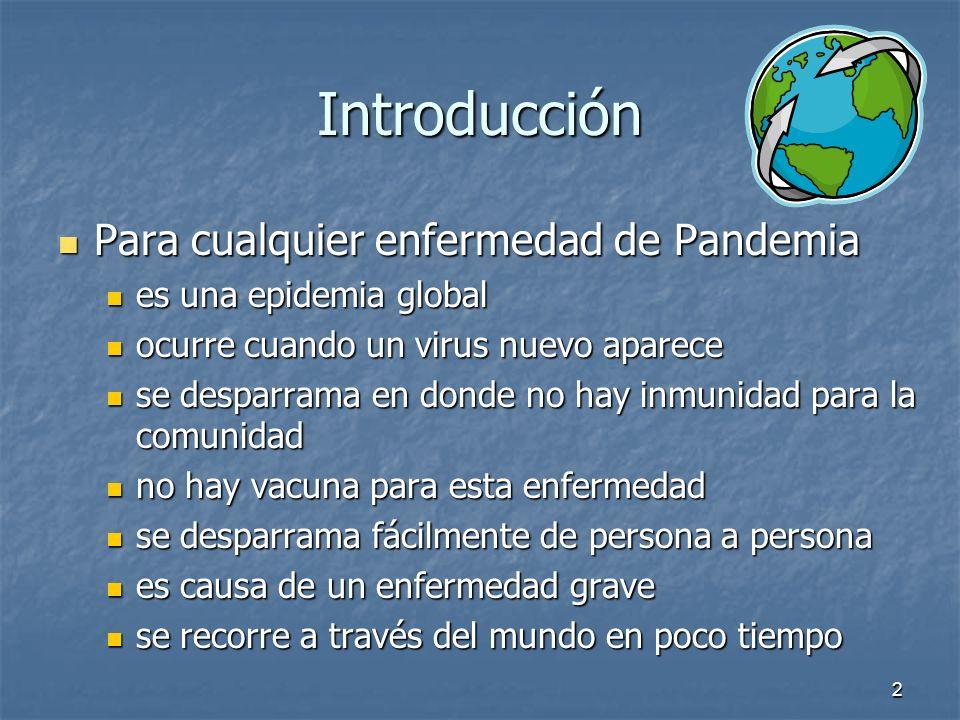 2 Introducción Para cualquier enfermedad de Pandemia Para cualquier enfermedad de Pandemia es una epidemia global es una epidemia global ocurre cuando