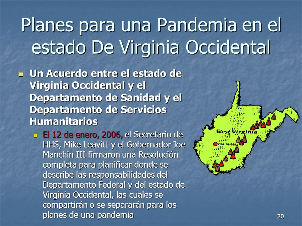 20 Planes para una Pandemia en el estado De Virginia Occidental Un Acuerdo entre el estado de Virginia Occidental y el Departamento de Sanidad y el De