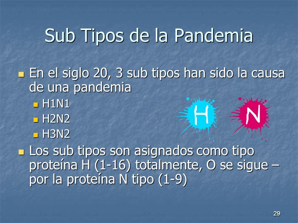 29 Sub Tipos de la Pandemia En el siglo 20, 3 sub tipos han sido la causa de una pandemia En el siglo 20, 3 sub tipos han sido la causa de una pandemi