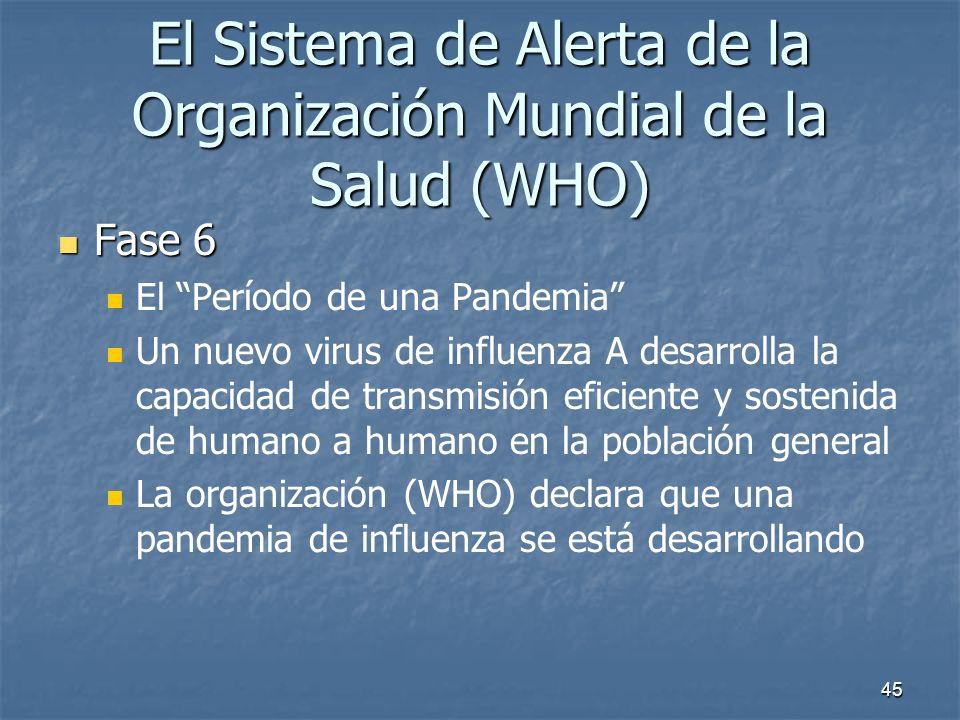 45 El Sistema de Alerta de la Organización Mundial de la Salud (WHO) Fase 6 Fase 6 El Período de una Pandemia Un nuevo virus de influenza A desarrolla