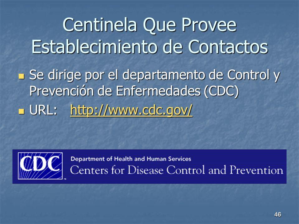 46 Centinela Que Provee Establecimiento de Contactos Se dirige por el departamento de Control y Prevención de Enfermedades (CDC) Se dirige por el depa