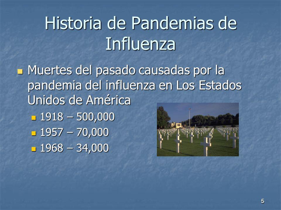 5 Historia de Pandemias de Influenza Muertes del pasado causadas por la pandemia del influenza en Los Estados Unidos de América Muertes del pasado cau