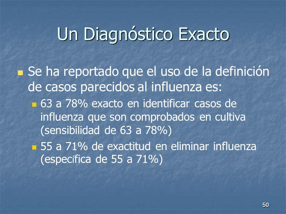 50 Un Diagnóstico Exacto Se ha reportado que el uso de la definición de casos parecidos al influenza es: 63 a 78% exacto en identificar casos de influ