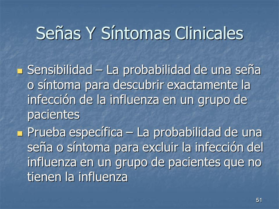 51 Señas Y Síntomas Clinicales Sensibilidad – La probabilidad de una seña o síntoma para descubrir exactamente la infección de la influenza en un grup