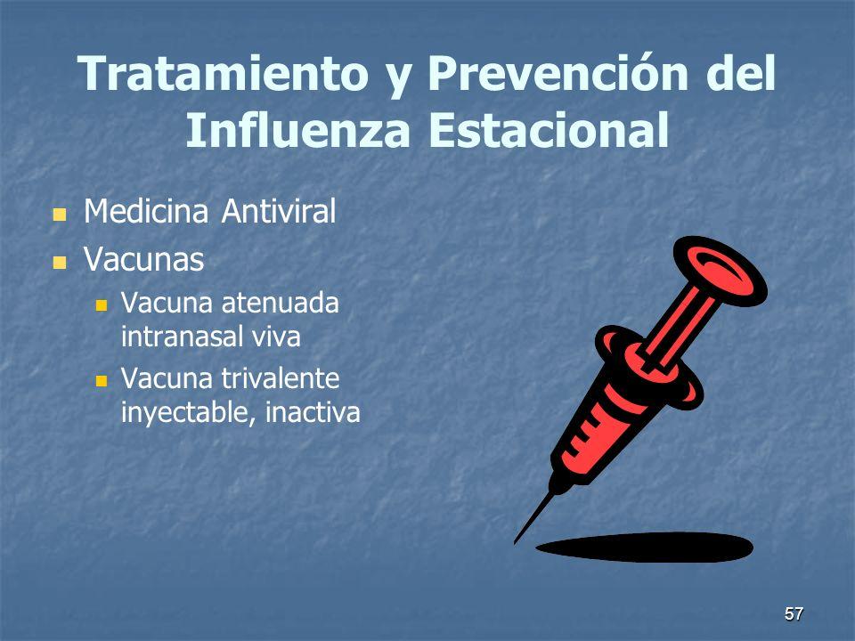 57 Tratamiento y Prevención del Influenza Estacional Medicina Antiviral Vacunas Vacuna atenuada intranasal viva Vacuna trivalente inyectable, inactiva
