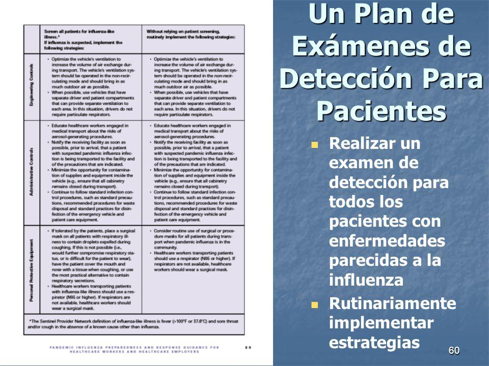 60 Un Plan de Exámenes de Detección Para Pacientes Realizar un examen de detección para todos los pacientes con enfermedades parecidas a la influenza