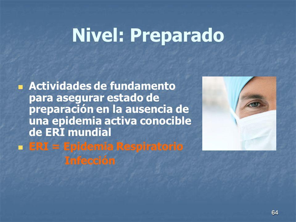 64 Nivel: Preparado Actividades de fundamento para asegurar estado de preparación en la ausencia de una epidemia activa conocible de ERI mundial ERI =