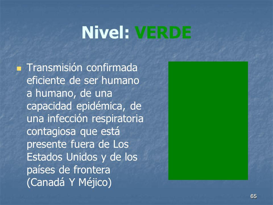 65 Nivel: VERDE Transmisión confirmada eficiente de ser humano a humano, de una capacidad epidémica, de una infección respiratoria contagiosa que está