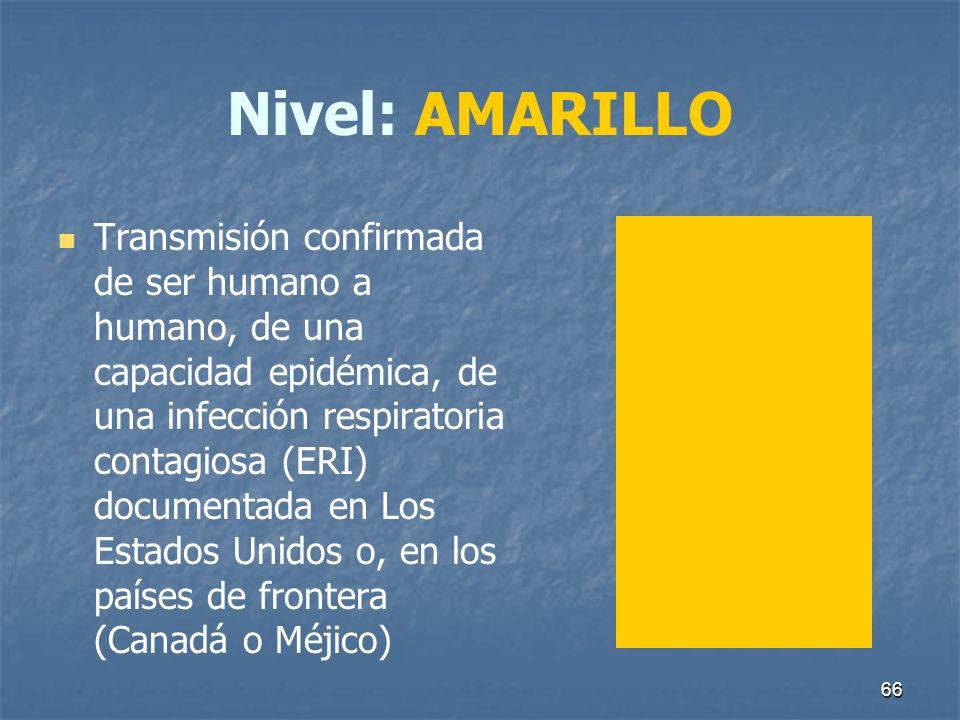 66 Nivel: AMARILLO Transmisión confirmada de ser humano a humano, de una capacidad epidémica, de una infección respiratoria contagiosa (ERI) documenta
