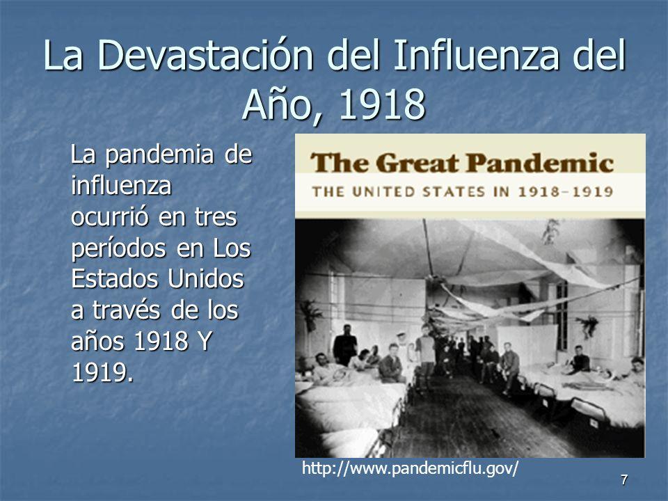 7 La Devastación del Influenza del Año, 1918 La pandemia de influenza ocurrió en tres períodos en Los Estados Unidos a través de los años 1918 Y 1919.