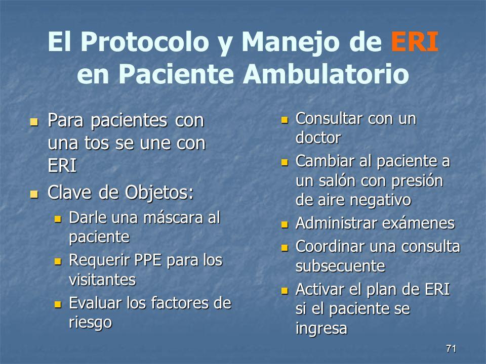 El Protocolo y Manejo de ERI en Paciente Ambulatorio Para pacientes con una tos se une con ERI Para pacientes con una tos se une con ERI Clave de Obje