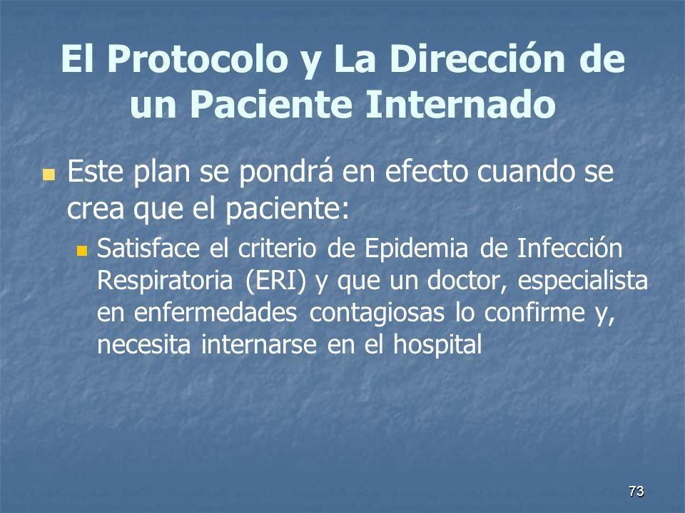 73 El Protocolo y La Dirección de un Paciente Internado Este plan se pondrá en efecto cuando se crea que el paciente: Satisface el criterio de Epidemi