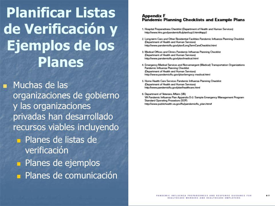 78 Planificar Listas de Verificación y Ejemplos de los Planes Muchas de las organizaciones de gobierno y las organizaciones privadas han desarrollado