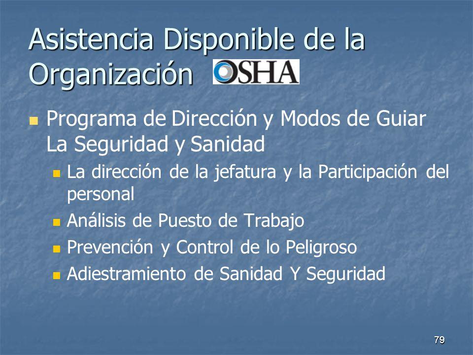 79 Asistencia Disponible de la Organización Programa de Dirección y Modos de Guiar La Seguridad y Sanidad La dirección de la jefatura y la Participaci