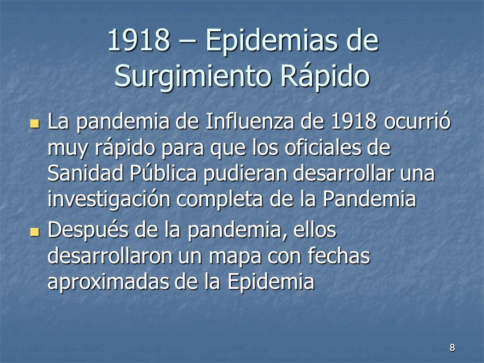 8 1918 – Epidemias de Surgimiento Rápido La pandemia de Influenza de 1918 ocurrió muy rápido para que los oficiales de Sanidad Pública pudieran desarr