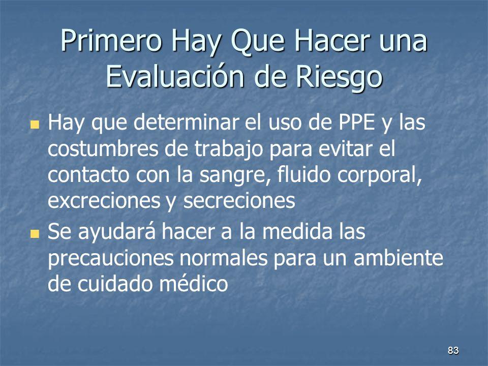 83 Primero Hay Que Hacer una Evaluación de Riesgo Hay que determinar el uso de PPE y las costumbres de trabajo para evitar el contacto con la sangre,