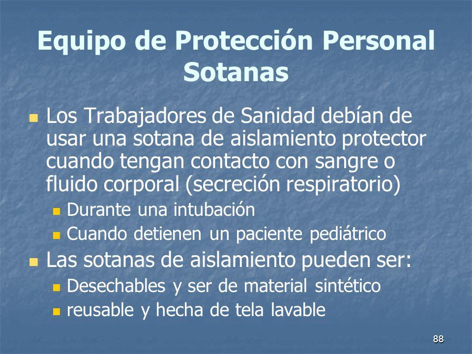 88 Equipo de Protección Personal Sotanas Los Trabajadores de Sanidad debían de usar una sotana de aislamiento protector cuando tengan contacto con san
