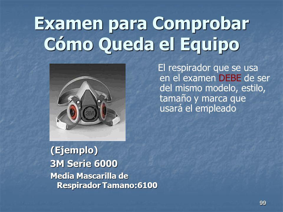 99 Examen para Comprobar Cómo Queda el Equipo (Ejemplo) (Ejemplo) 3M Serie 6000 3M Serie 6000 Media Mascarilla de Respirador Tamano:6100 Media Mascari