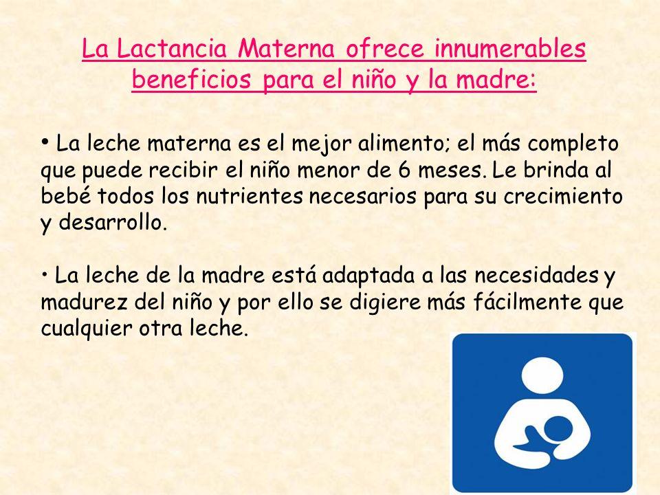 La Lactancia Materna ofrece innumerables beneficios para el niño y la madre: La leche materna es el mejor alimento; el más completo que puede recibir
