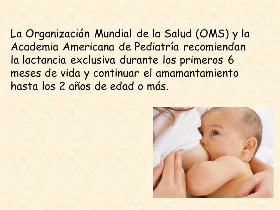 La Organización Mundial de la Salud (OMS) y la Academia Americana de Pediatría recomiendan la lactancia exclusiva durante los primeros 6 meses de vida